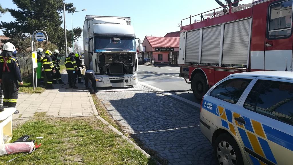 situace u požáru nákladního vozidla